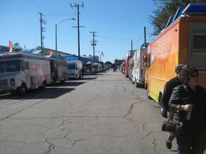 street full of food trucks